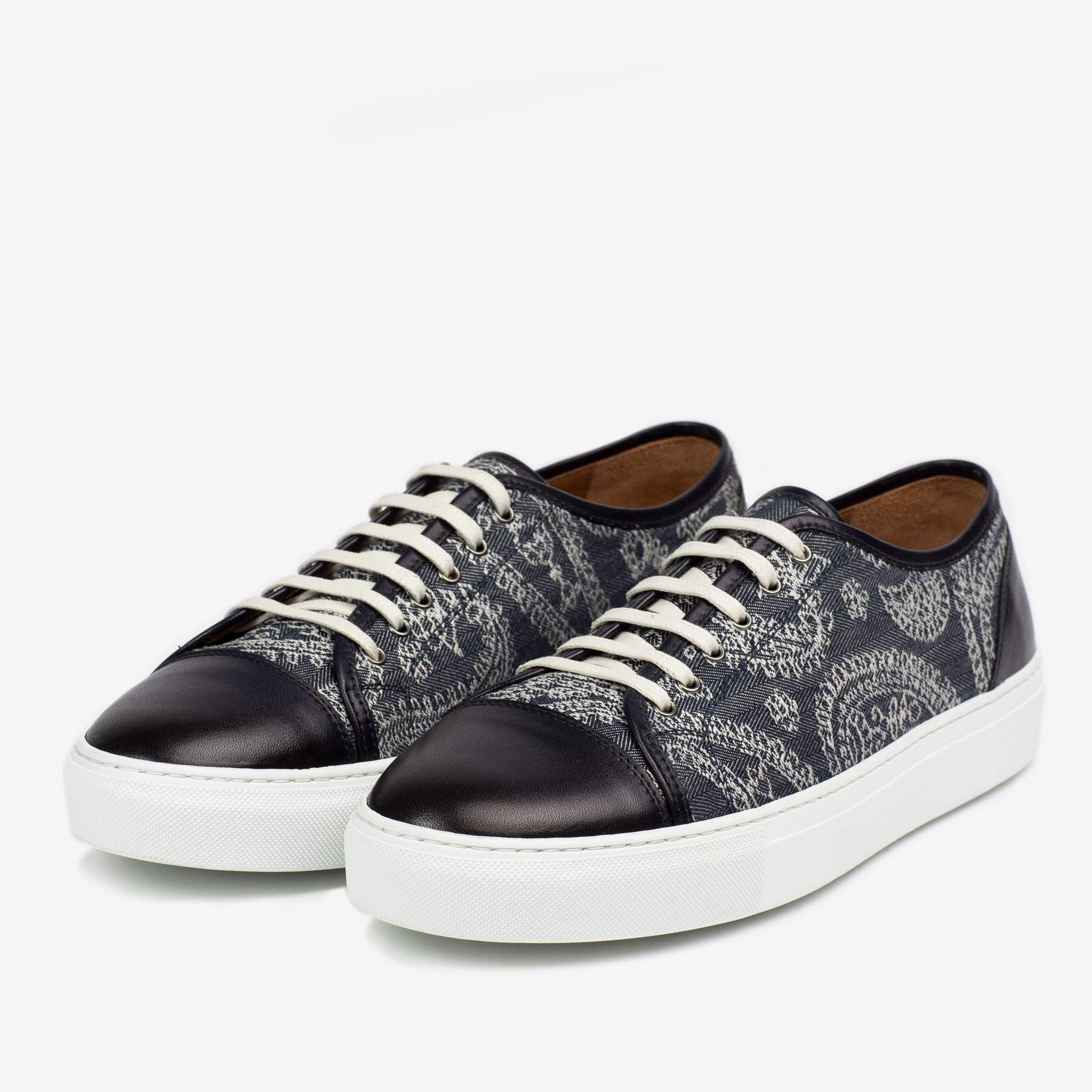 The Jack Sneaker in Blue Paisley Side Profile