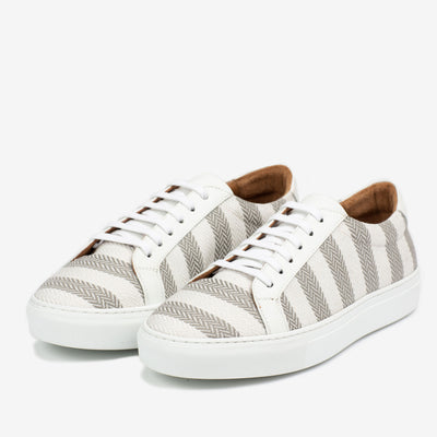 The Sneaker in Grey Stripes Side Profile