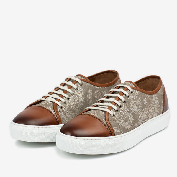The Jack Sneaker in Taupe Paisley Side Profile