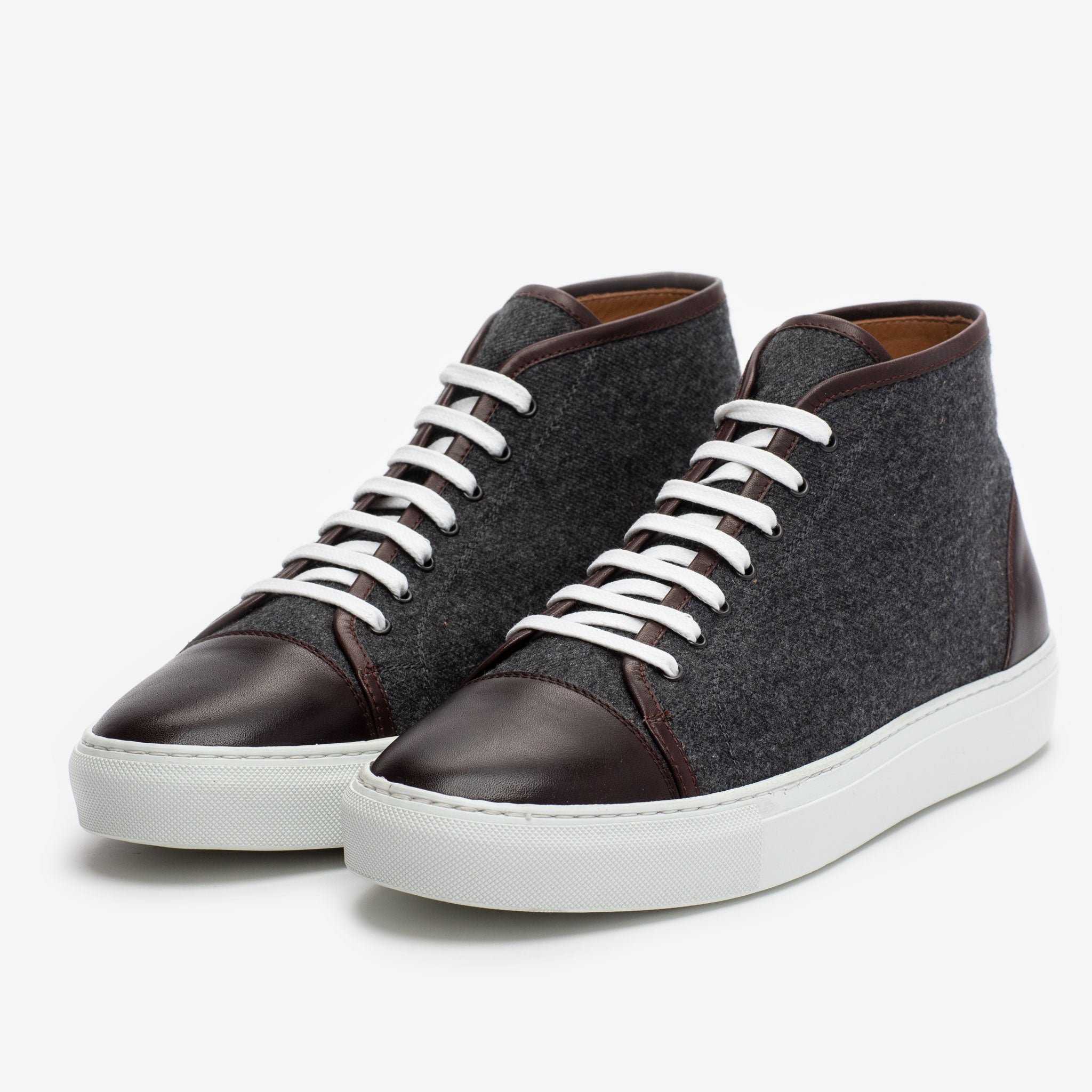 The Jack Sneaker Mid in Grey/Oxblood Side View