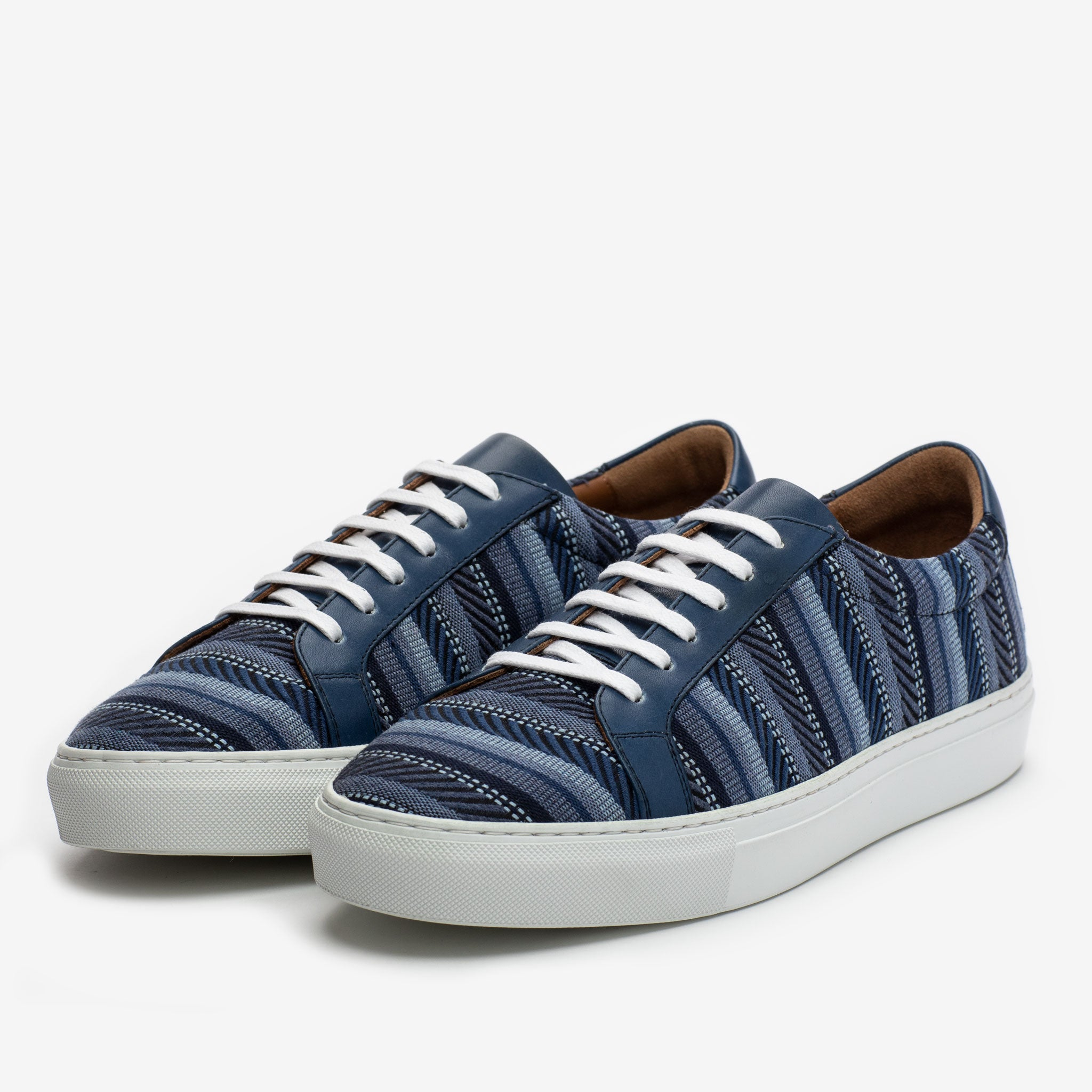The Sneaker in Blue Stripes side view