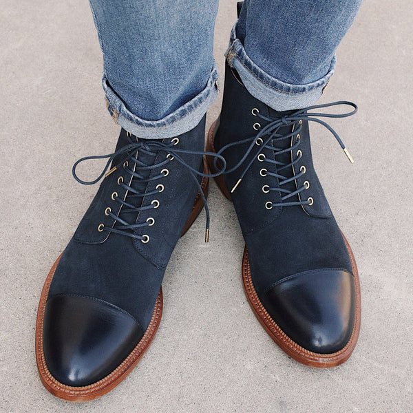 Troy Boot Navy Wearing