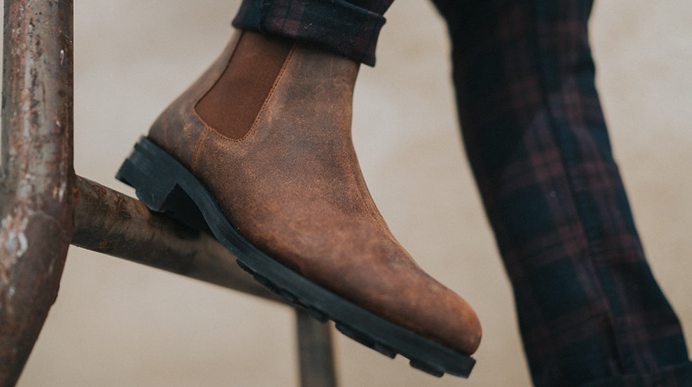 The Drake Boot in Rust on model