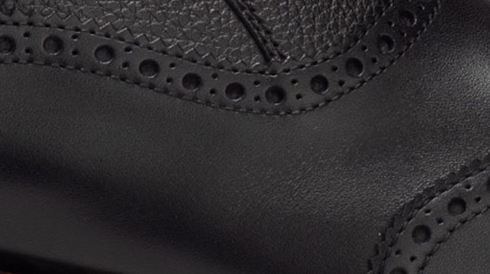 up close image of The Dustin Boot in Black Leather