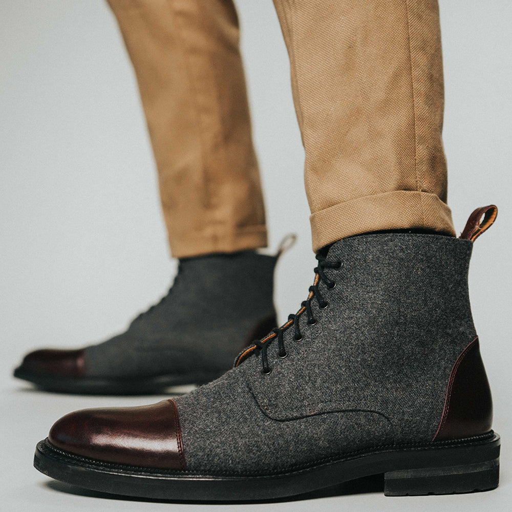 The Jack Boot in Grey/Oxblood on model