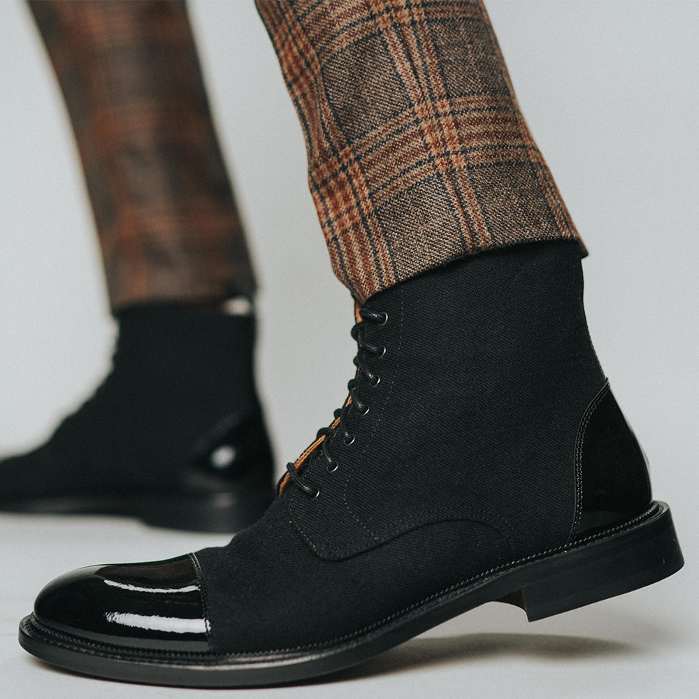The Jack Boot in Tux on model wearing plaid pants