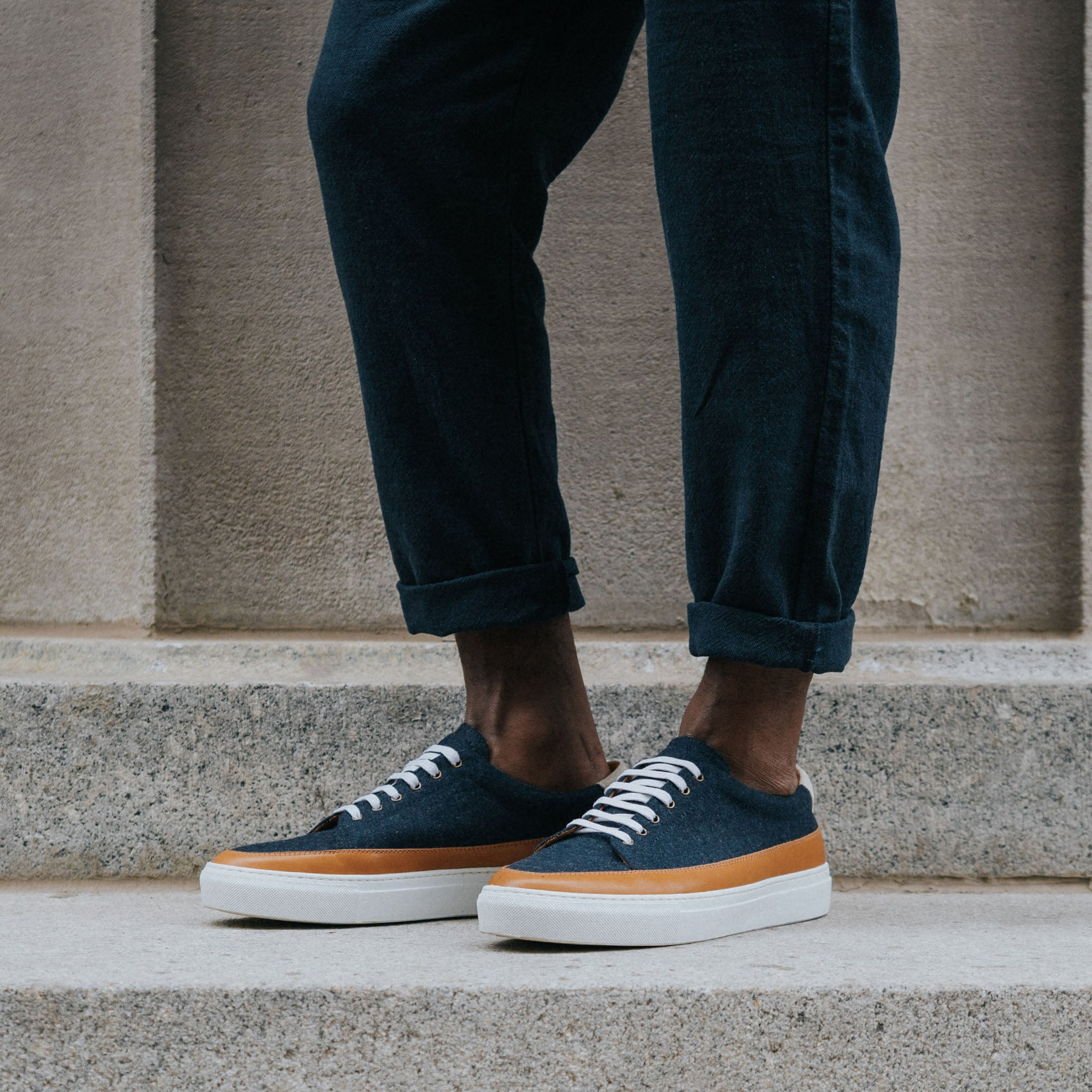 fifth ave sneaker in navy on model