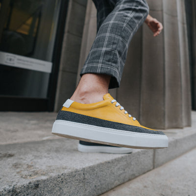 fifth ave sneaker in yellow on model
