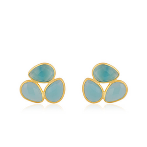 Gold Plated Peardrop Stud Earrings (Three different colours)