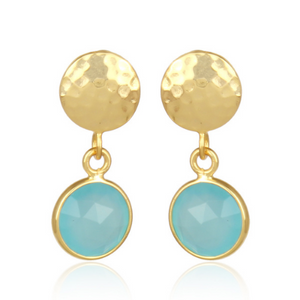 Dottie Stud Pendant Earrings - Aqua Chalcedony