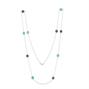 Labradorite and Aqua Chalcedony in Sterling Silver Long Necklace