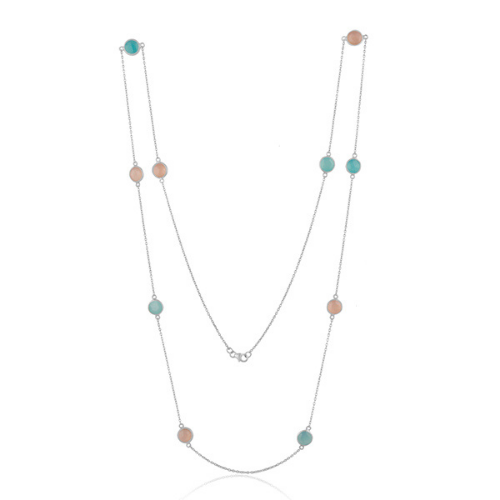 Aqua and Rose Chalcedony in Sterling Silver - Long Necklace