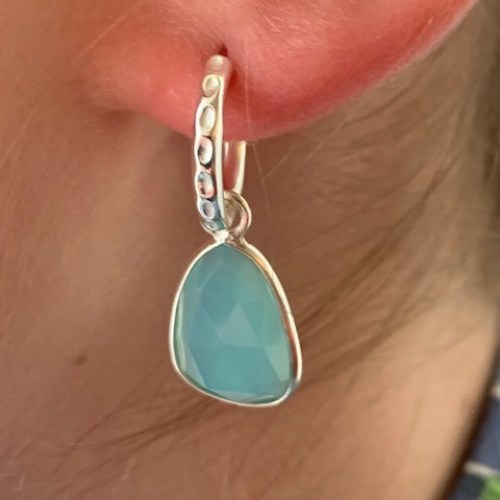 Wave Pendant Earrings - Sterling Silver with Aqua Chalcedony or Deep Pink Chalcedony