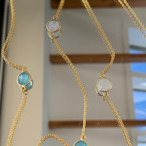 Aqua Chalcedony and Moonstone Long Necklace - Gold Plated