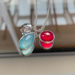 Aqua Chalcedony and Pink Chalcedony Pendant Necklace