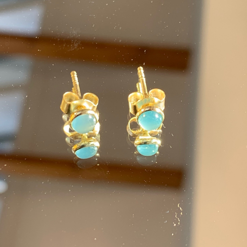Small Aqua Chalcedony Stud Earrings