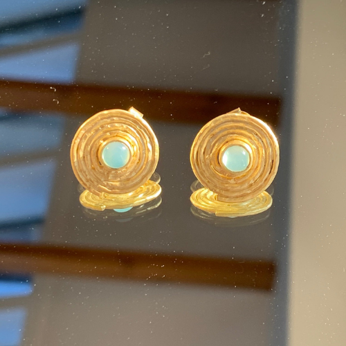 Aqua Chalcedony Swirl Stud Earrings