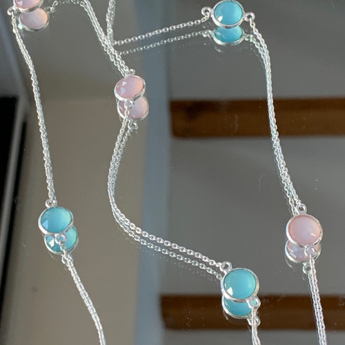 Aqua and Rose Chalcedony Long Necklace