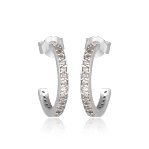 Sterling Silver and Stones Hoop Stud Earrings - Three Colours