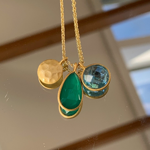 Green Onyx and Sky Blue Topaz Pendant Necklace
