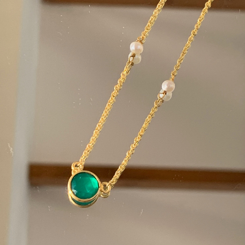 Green Onyx and Pearl Necklace