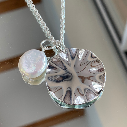 Wave and Pearl Pendant Necklace