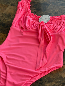 Pink Ruched Bodysuit