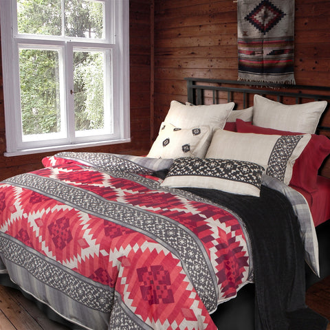 Bonanza Geometric Printed Cotton Sateen Duvet Cover Set