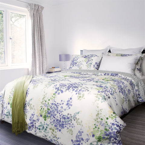 Heather Floral Printed Cotton Sateen Duvet Cover Set