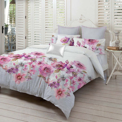 Violet Floral 300TC Pure Cotton Sateen Duvet Cover Set