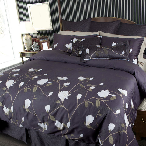 Magnolia Floral Printed Premium Cotton Sateen Duvet Cover Set