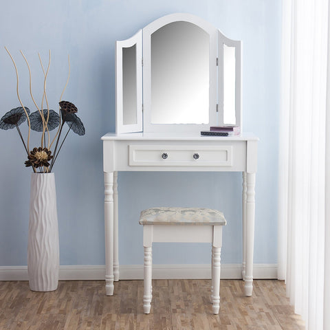 Cherry Tree Furniture Dressing Table 3 Way Mirror Triple Mirror Makeup Dresser Set with Stool