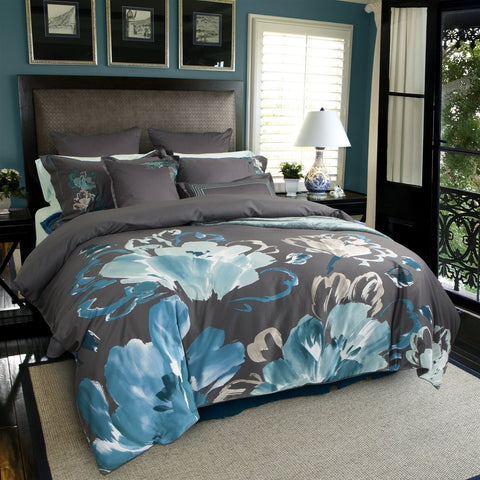 Havana Flower Printed Cotton Sateen Duvet Cover Set