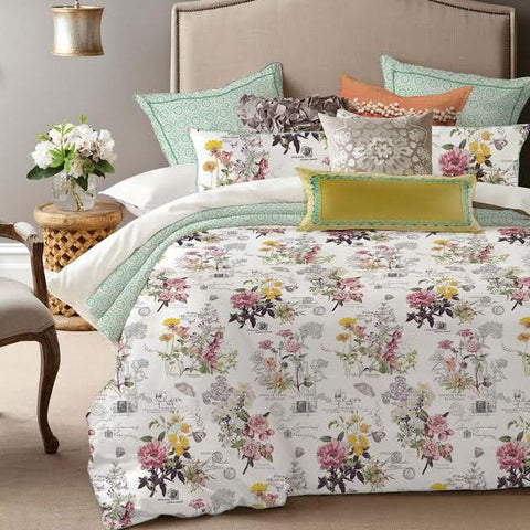 Botanical with Script Print 100% Cotton Duvet Cover Set