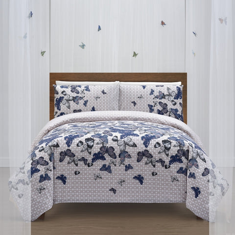 Butterfly Print 300TC Pure Cotton Sateen Duvet Cover Set