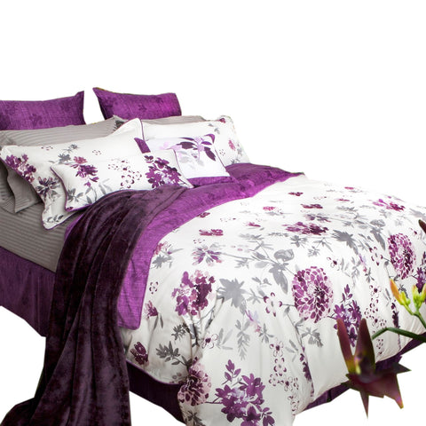 Ella Purple Flower Bamboo Cotton Sateen Duvet Cover Set