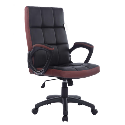 Waffle Effect Contrasting Panels High Back Faux Leather Swivel Executive Office Chair