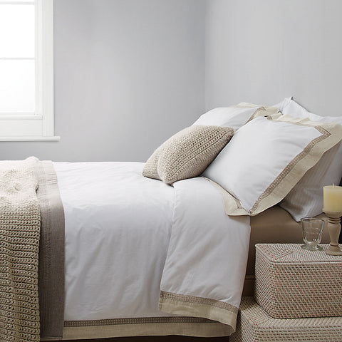 Natural Linen Border Pure Cotton Sateen Duvet Cover Set