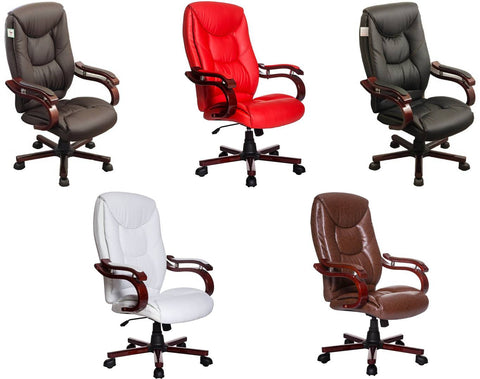 NEWHAM Luxury Wooden Frame Desk Chair in Five Colours
