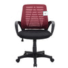 Mesh Fabric Padded Swivel Office Chair in Dark Red & Black MO44
