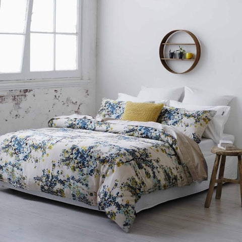 Wisteria Floral Cotton Sateen Duvet Cover Set