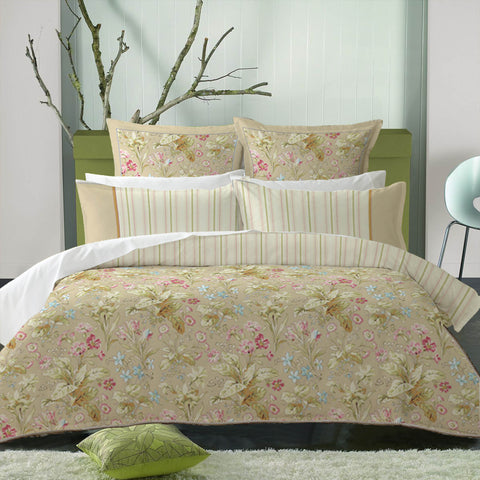 Garden Floral Cotton Sateen Duvet Cover Set with Round Rope Edge