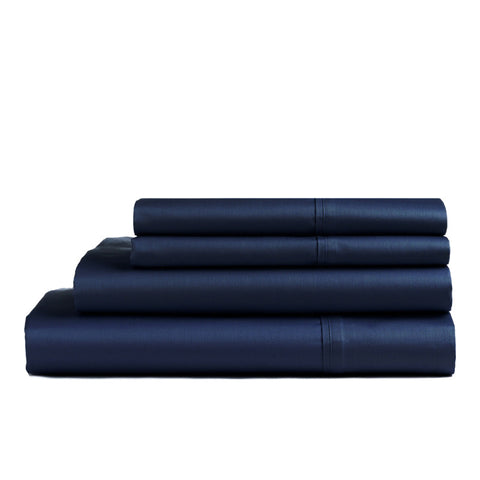 1000 Thread Count Navy Blue Pure Cotton Sateen Fitted Sheet