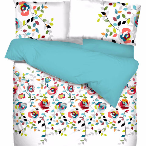 Sisi Flower Cotton Sateen Duvet Cover Set
