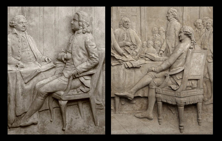 collage of two photos of closeups of plaster cast reliefs depicting John Adams at the signing of the Treaty of Paris and John Hancock at the signing of the Declaration of Independence