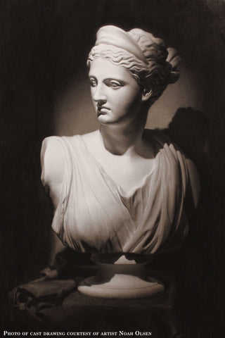 Photo of Cast Drawing of Plaster Cast of Diana of Versailles bust - female goddess with drapery and crown and up-do - on a table with a cloth over it and rolled into folds beside the statue with a black background