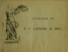 scan of Caproni catalog cover, a gold color with black text and a sketch of the Victory of Samothrace