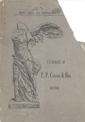 scan of gray P.P. Caproni and Brother catalog cover with Victory of Samothrace