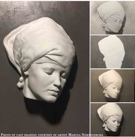 Photo of Cast Drawing of Plaster Cast of Nubian Female Mask - head turned to the left with a cloth over the head and tied at the nape of the neck - on a gray background and repeated in four thumbnails on the right edge of the photo showing different stages in the drawing process