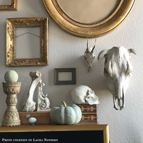 Photo of a still life including a plaster cast sculpture of a skull, a plaster cast sculpture of a Renaissance bracket leaning against a bone, empty picture frames, and other eclectic items on a shelf